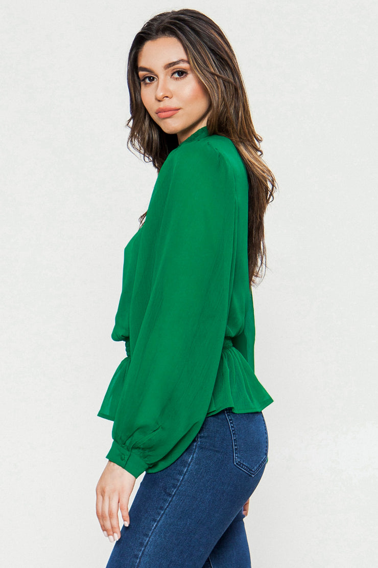Solid Top, Formal Top, Blouse, Green Blouse, Longe Sleeve Blouse, High Neck Blouse, Vintage Blouse, Casual, Casual Wear