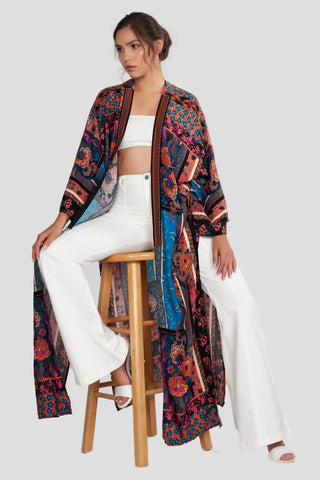 Kimono, Cover Up, Boho, Bohemian, Print, Cardigan, Sweater, Fall, Winter, Casual, Floral