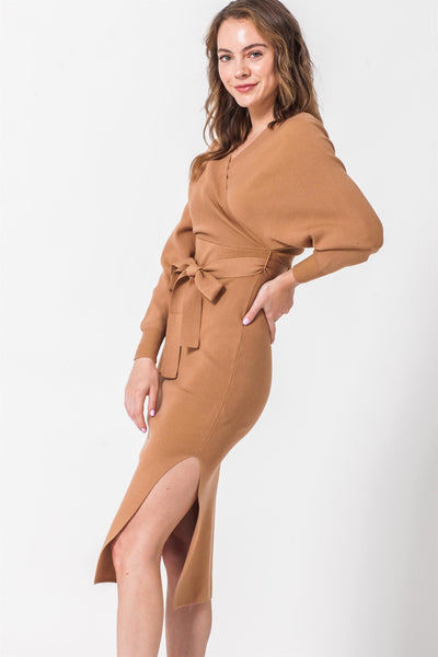 Side Slit Dress, Camel Dress, Brown Dress, Nude Dress, Neutral, Long Sleeve Dress, Solid Dress, Midi Dress, Dressy, Dress, Side Slit, Party Dress, Wedding Outfit, Party Outfit, Sun Dress, Club Wear, Dinner Outfit, Casual, Beach Wear, Vacation Outfit, Mini Dress, Fashionable Dress, Business Dress, Corporate Dress, Formal Wear, Formal Dress, Work Dress
