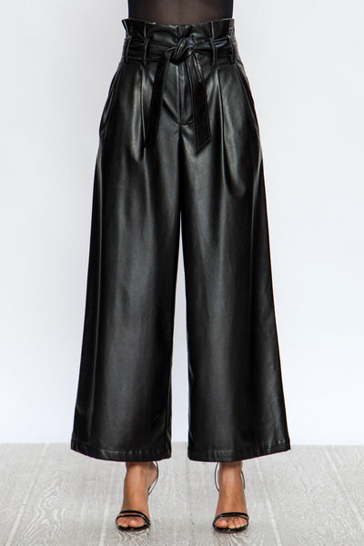 Leather, Vintage Pants, Trendy, Fall Outfit, Winter Outfit, Casual Wear, Fashion,Trendy,Pants, Wide Leg Pants, All Black, Pants with Belt, Pocket Pants, Bottoms