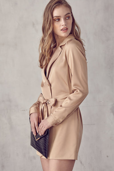 Blazer Dress, Nude Dress, Neutral, Bow Tie Dress, Long Sleeve Dress, Solid Dress, Midi Dress, Dressy, Dress, Side Slit, Party Dress, Wedding Outfit, Party Outfit, Sun Dress, Club Wear, Dinner Outfit, Casual, Beach Wear, Vacation Outfit, Mini Dress, Fashionable Dress, Business Dress, Corporate Dress, Formal Wear, Formal Dress, Work Dress