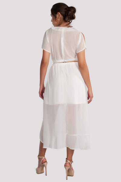 Sets, Crop, Crop Top and High Waisted Skirt, White Outfit, White Dress, See Through, Ruffles, Sun Dress, Spring, Summer Dress, Beach Dress, Vacation Outfit, Low Cut, Side Slit, Casual, Wedding, Club Outfit, Festival, Formal Wear, Dinner Outfit