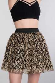 Skirt, High Waisted, Peacock, Black Print, Casual, Dressy Skirt