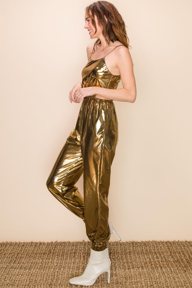 Festival Outfit, Spaghetti Jumpsuit, Gold, Gold Outfit, Costume Gold Outfit, Army Style Outfit, Fall Outfit, Long sleeve, Jumpsuit, Clay, Fashionable Outfit, Casual Jumpsuit, Club Wear, Party Outfit