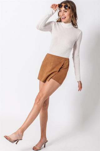 Suede, Skort, Short, Skirt, Bottom, Camel, Brown, Neutral, Fall, Winter, Summer, High Waisted