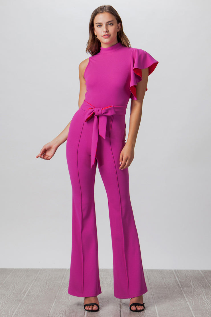 Vintage Style Jumpsuit, Close Neck Jumpsuit, Magenta, Outfit, Costume Outfit, Formal, Summer Outfit, Off Shoulder, Jumpsuit, Ruffles, Fashionable Outfit, Casual Jumpsuit, Club Wear, Party Outfit, Wedding, Dinner Outfit