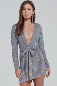 Low Cut Dress, Party Dress, Club Dress, Wedding Dress, Silver Dress, Mini Dress, Metallic Dress, Long Sleeve Dress, Sparkly Dress, Costume Dress, Dress, Asymmetrical Dress, Silver Dress