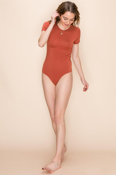 Fitted Basic Jersey Bodysuit in Marron