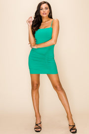 Be My Lover | Ruched Side Bodycon Mini Dress in Green