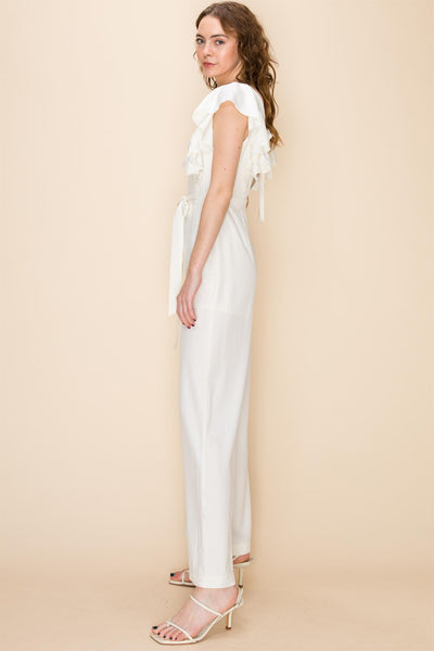 I Adore You White Ruffle One-piece Jumpsuit