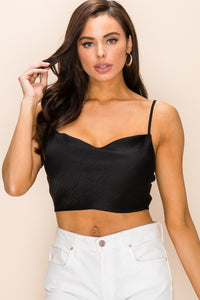Satin Sleeveless Cowl Neck Crop Top in Black