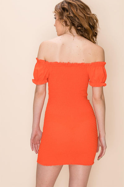 Loving Memories Red Orange Shirred Mini Dress