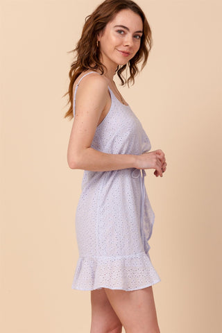 Happily Ever After Lavender Eyelet Lace Mini Dress