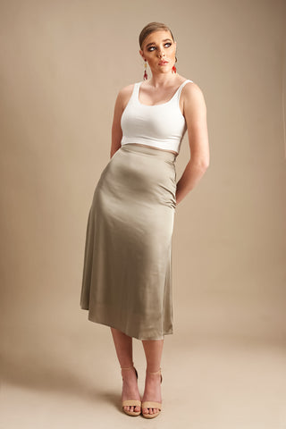 Matilda Midi Silk Skirt in Olive