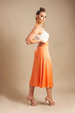 Matilda Midi Silk Skirt in Neon Orange