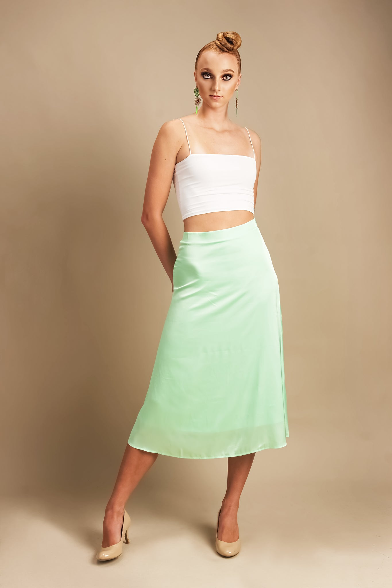 Matilda in Mint Midi Silk Skirt