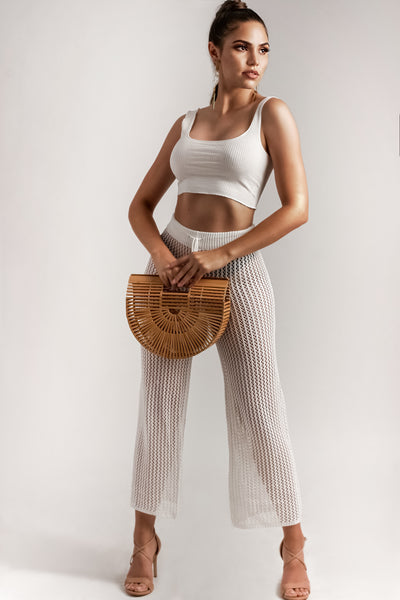 Drawstring Crochet Straight Pants
