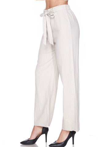 High Waisted Wide Leg Linen Palazzo Pants In Ivory