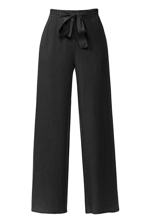 High Waisted Wide Leg Linen Palazzo Pants In Black