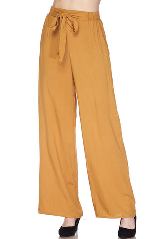 High Waisted Wide Leg Linen Palazzo Pants In Mustard