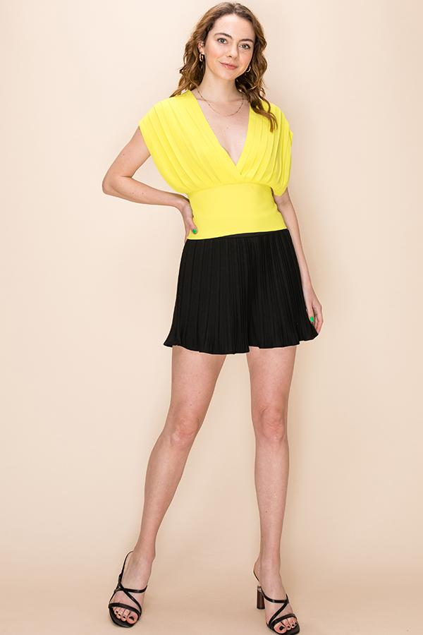 Romantic Inclination Pleated V neck top in Lime