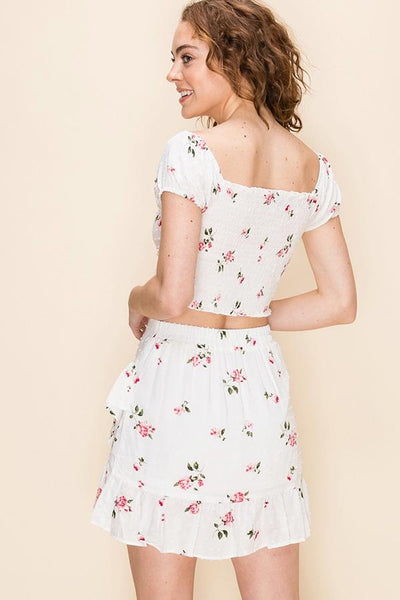 Keep it Short Floral Print Two-Piece Skirt