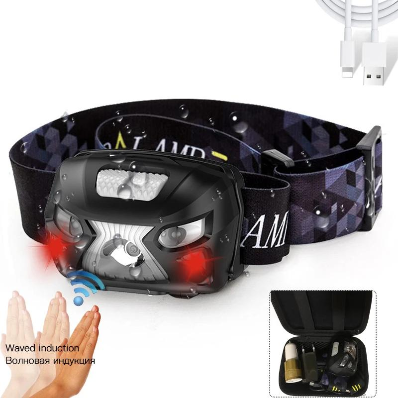 Headlamp with sensor Flashlight Camping Torch