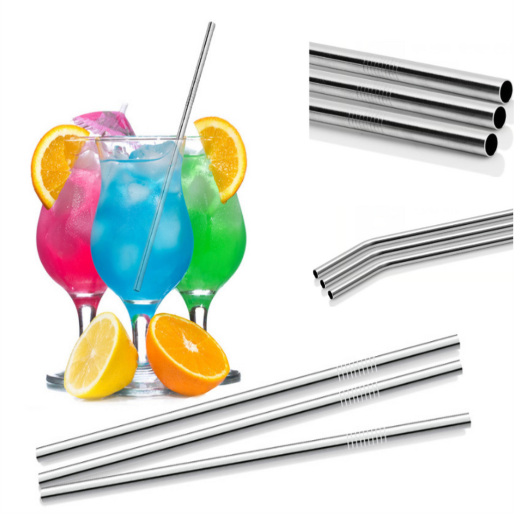 11Pcs Stainless Steel Metal Drinking Straw Reusable Straws, Cleaning Brush Straw Bag set