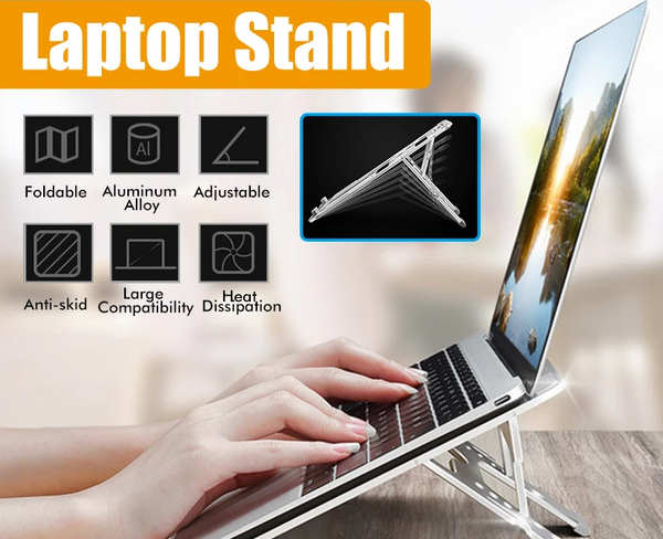 Universal Aluminum Alloy Height Adjustable Foldable Cooling Stand for Laptop - Silver