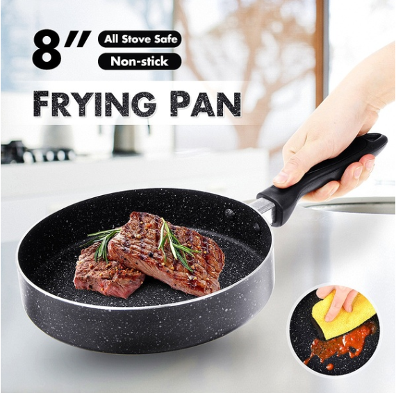 Portable Universal 8'' Non-stick Flat Frying Pan For Gas / Induction Stove