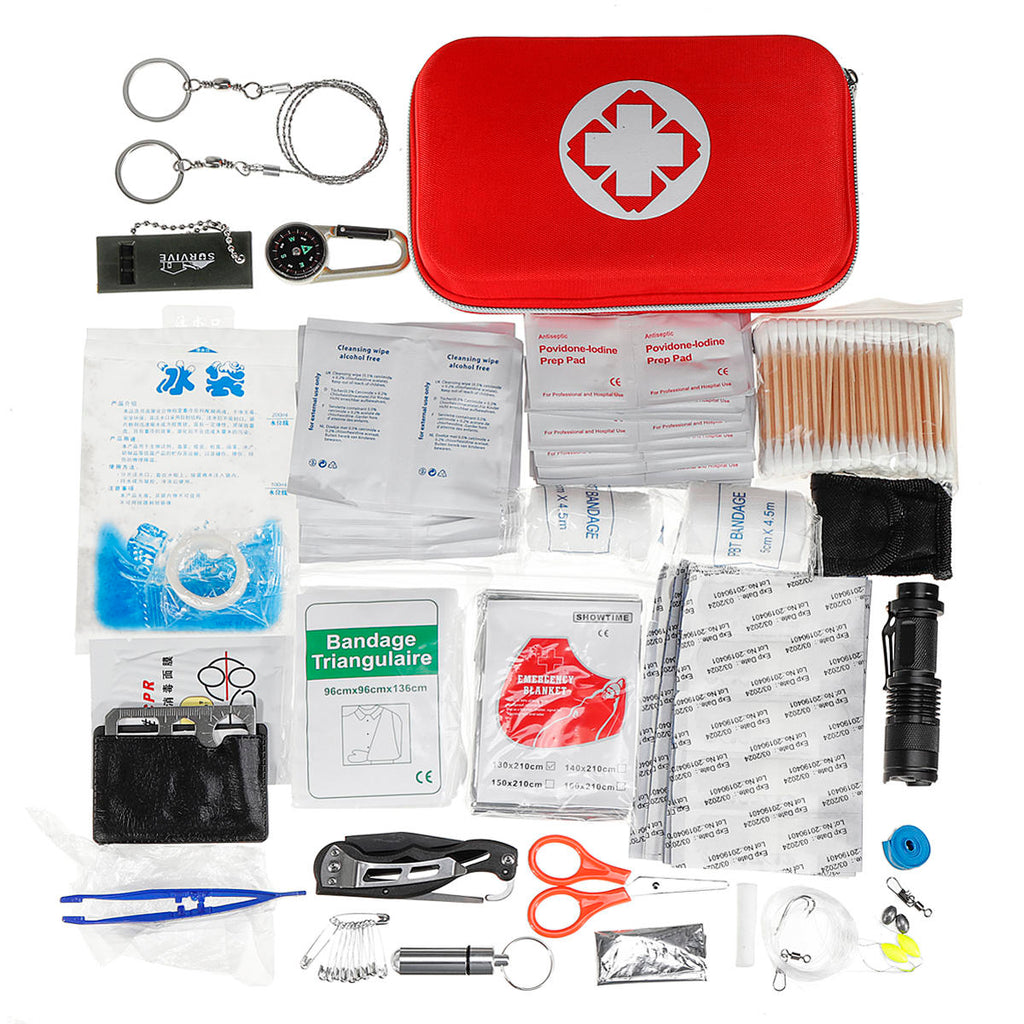 241 Pcs First Aid Kit Emergency Survival Bag Travel Camping Trauma Medical Bag
