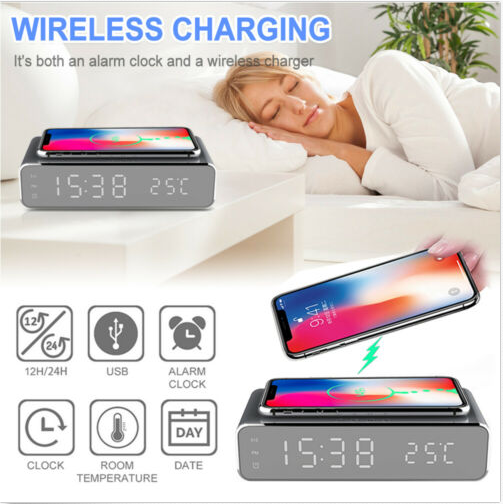 USB Digital LED Desk Alarm Clock With Thermometer Wireless Charger - Silver