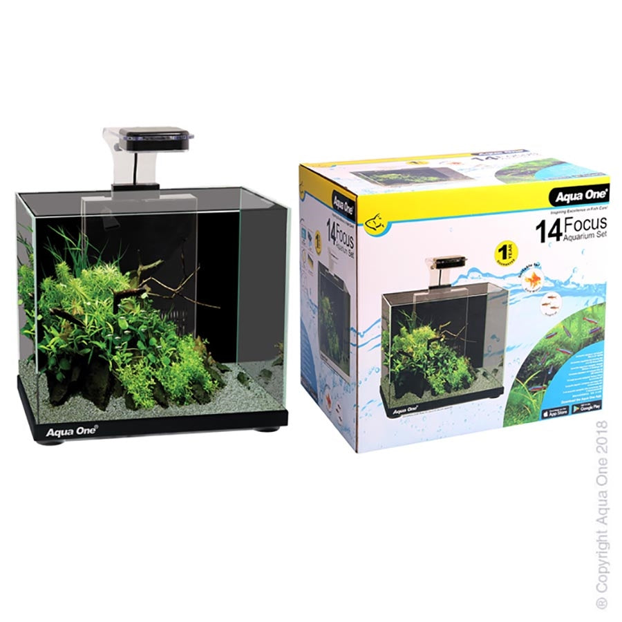 Aqua One Focus 14 Black Aquarium with Light and Filter - In Store Pickup only