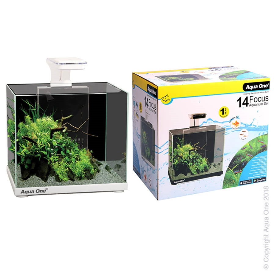 Aqua One Focus 14 White Aquarium with Light and Filter  - In Store Pickup only