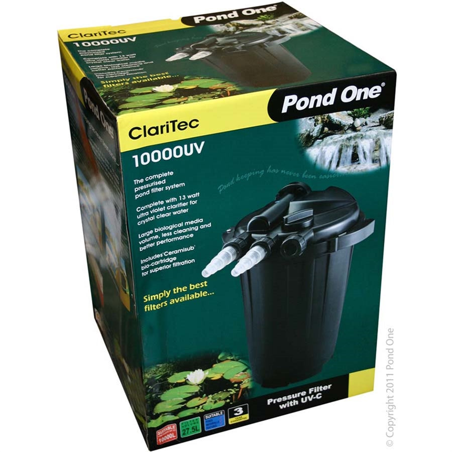 Pond One Claritec 10,000UV Pressurised Filter with 13w UVC