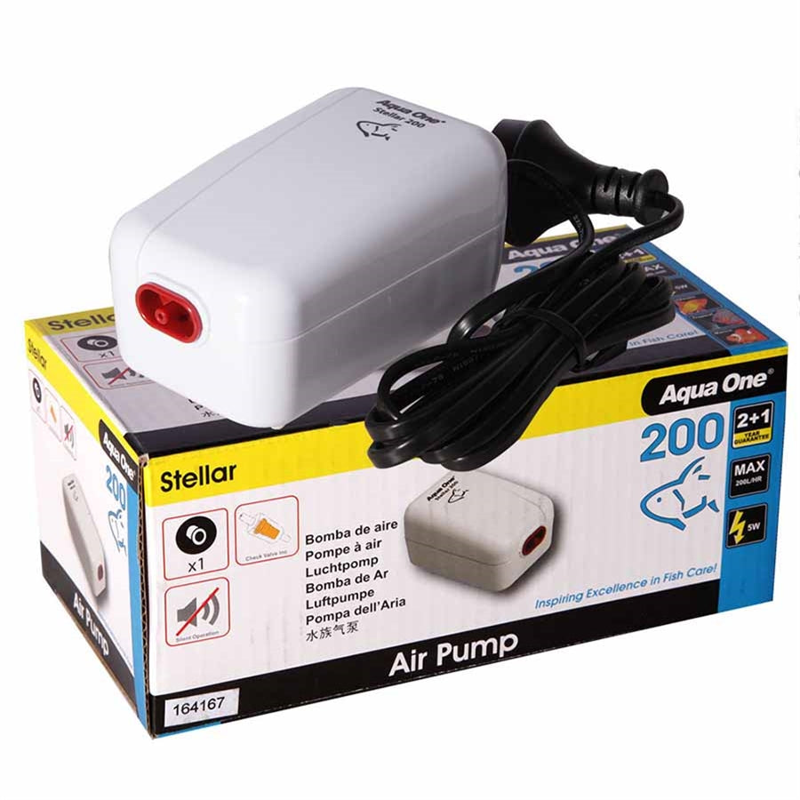 Aqua One Stellar 200 Air Pump 200l/h - Single Outlet