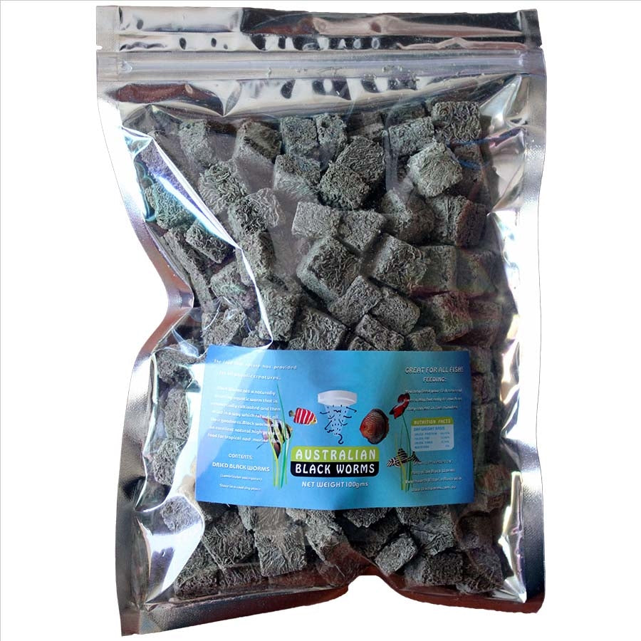 Australian Black Worms 100g Cubes - Freeze Dried with added Spinach