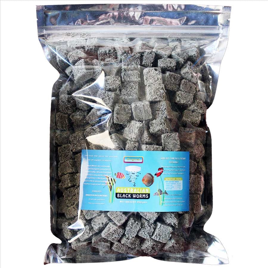 Australian Black Worms 200g Cubes - Freeze Dried with added Spinach
