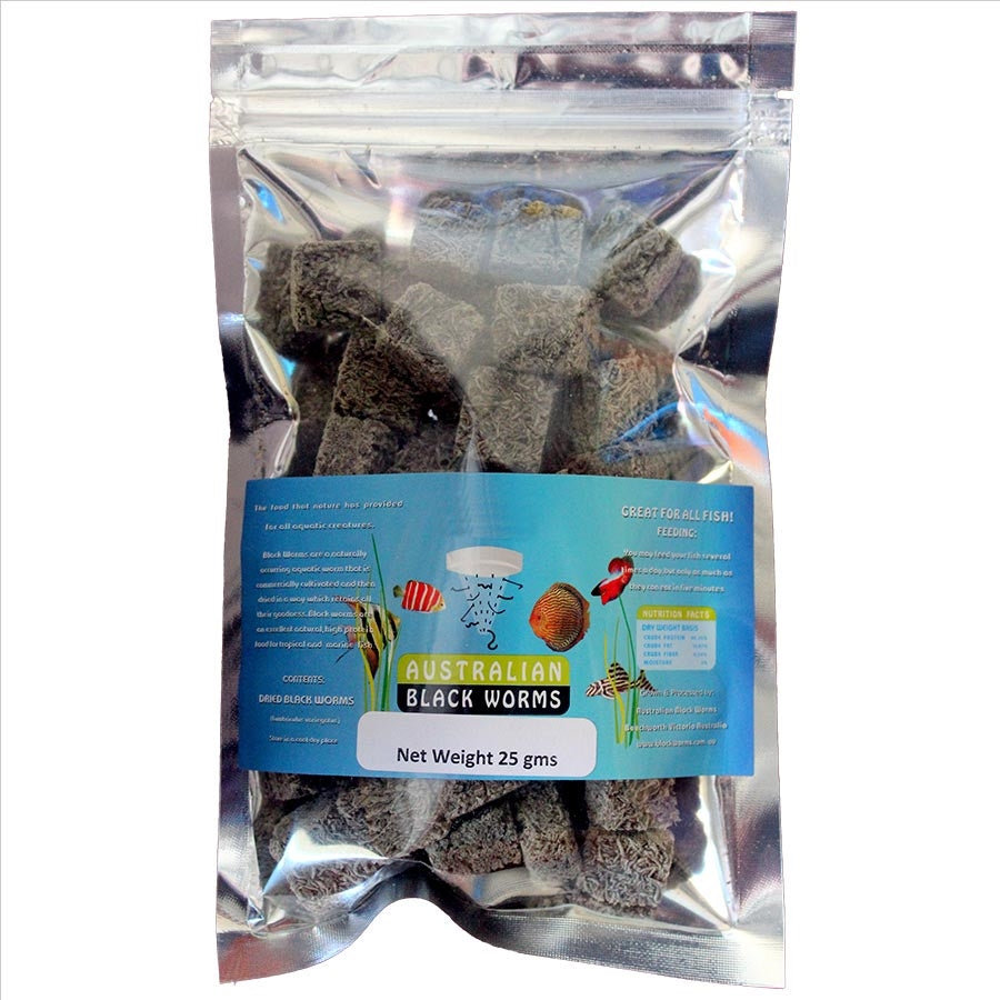 Australian Black Worms 25g Cubes - Freeze Dried