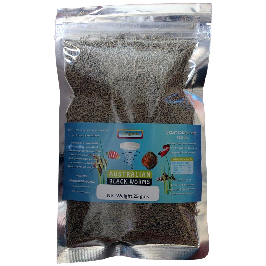 Australian Black Worms 25g Loose - Freeze Dried