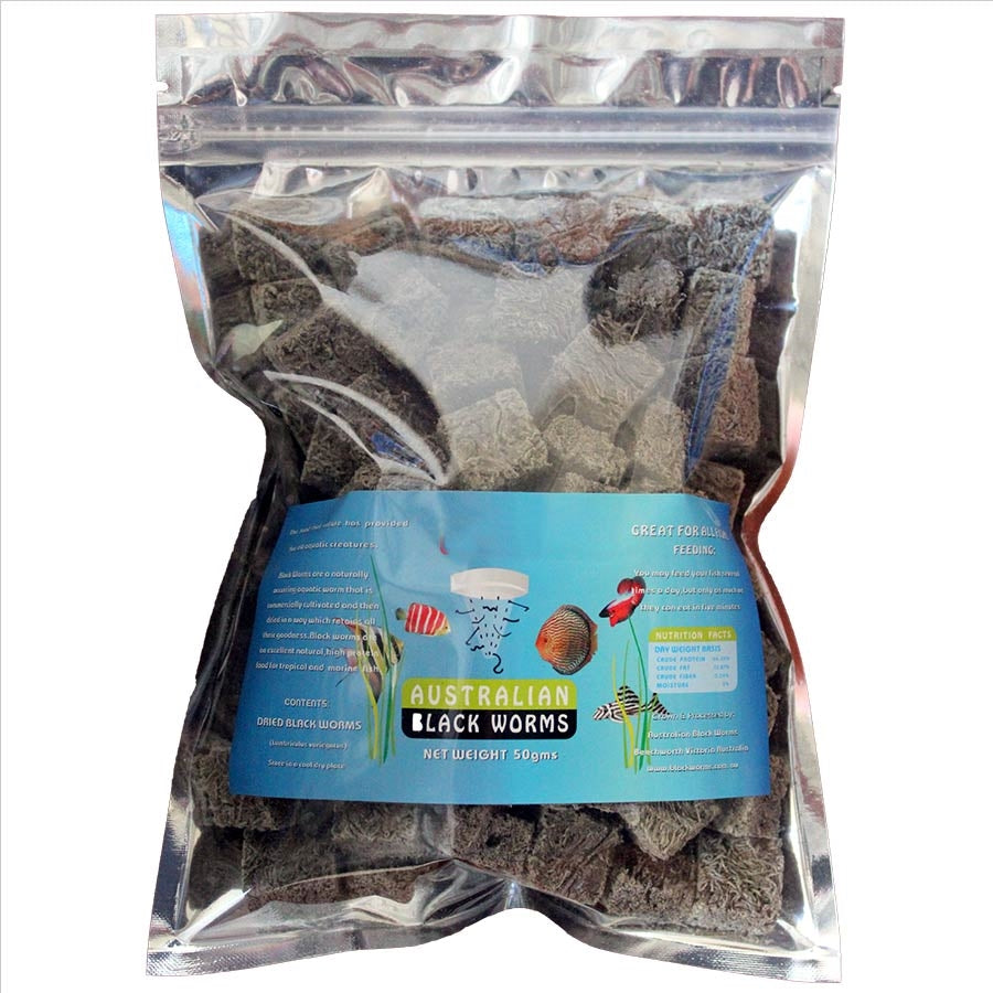 Australian Black Worms 50g Cubes - Freeze Dried - Bio Pigment Plus