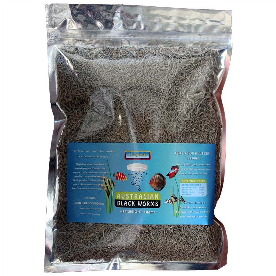 Australian Black Worms 50g Loose - Freeze Dried