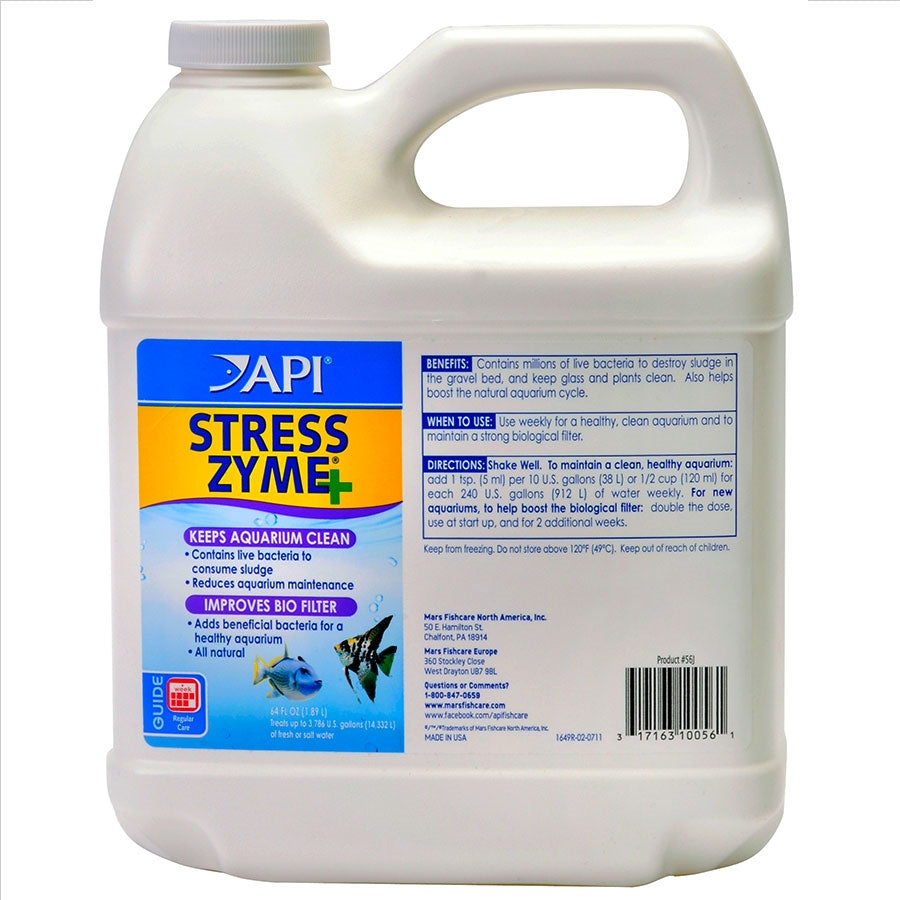 API Stress Zyme 1.89l Improves Biological Filtration - Reduces Sludge