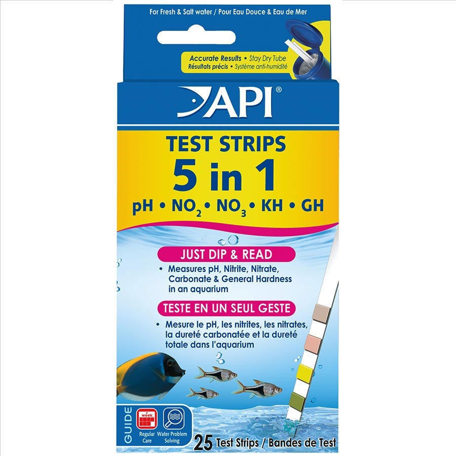 API Aquarium Test Strips 5 in 1 - Pack of 25 Test Strips