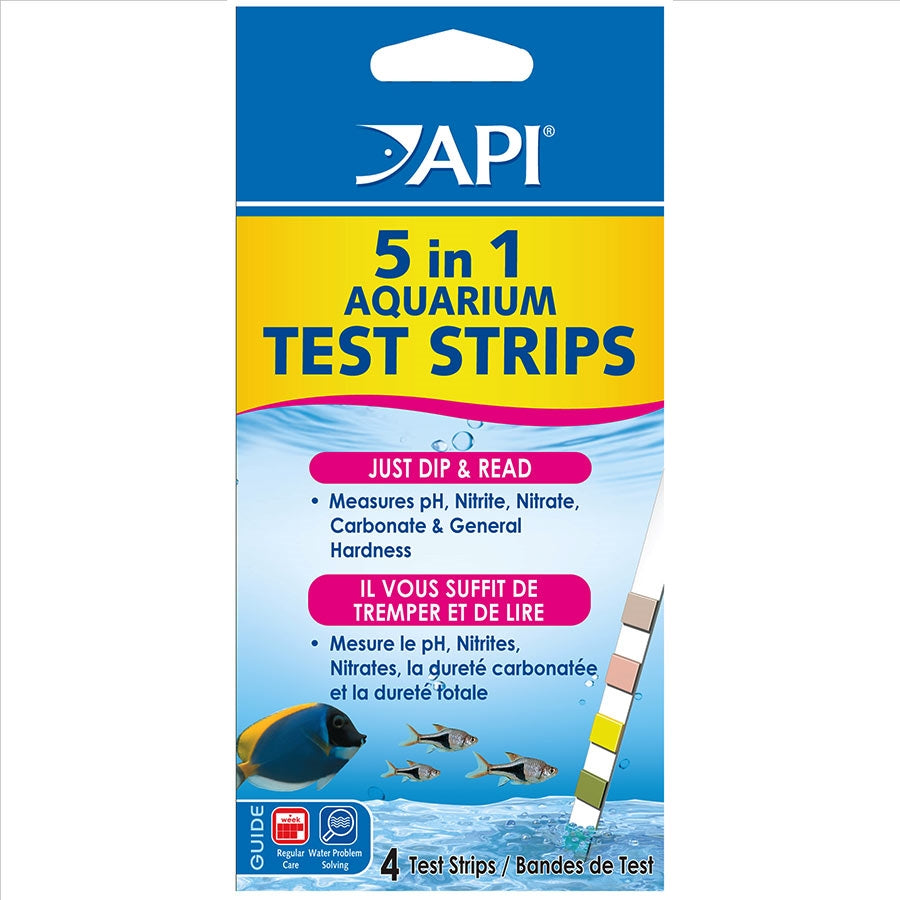 API Aquarium Test Strips 5 in 1 - Pack of 4 Test Strips