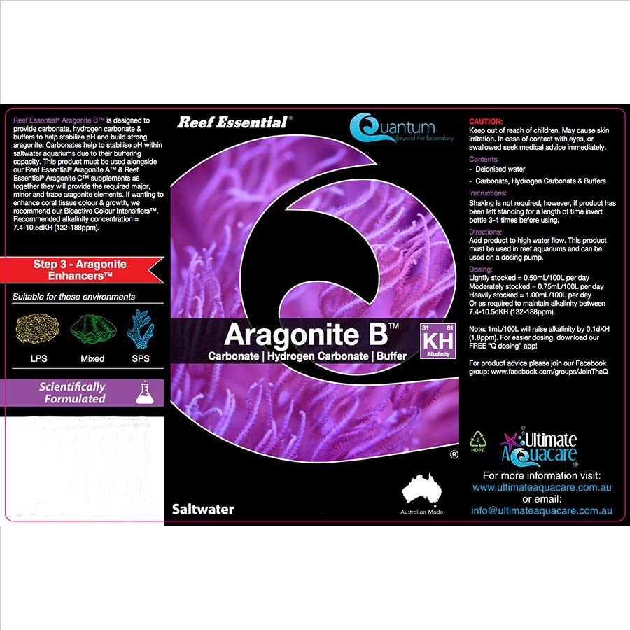 Ultimate Aquacare Reef Essential 1000ml Aragonite B - Carbonate, Hydrogen Carbonate, Buffer