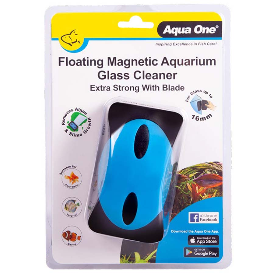 Aqua One Floating Magnet Aquarium Glass Cleaner up to 16mm Glass