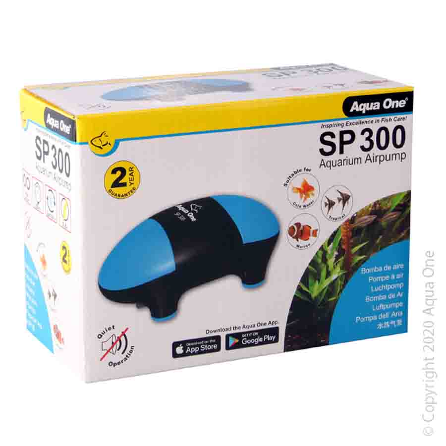 Aqua One SP300 Aquarium Air Pump 2x150l/h Dual Outlet