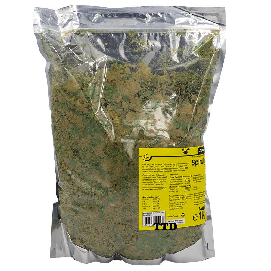 Aqua One Spirulina Flake 1kg Fish Food
