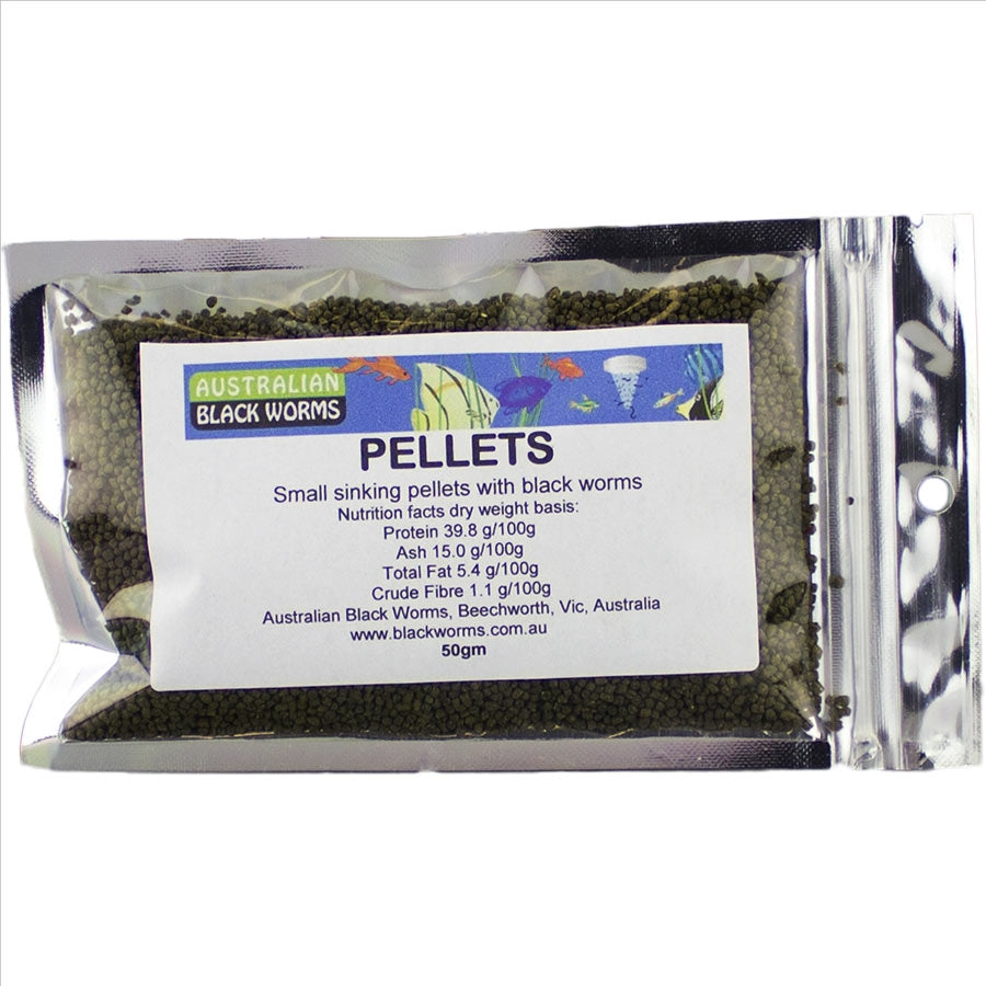 Australian Black Worms 50g Pellet 2mm